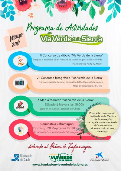 Cartel del Programa de Actividades Lúdico-Deportivas 2017 de la Vía Verde de la Sierra