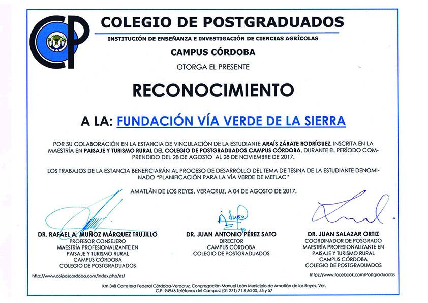 La Fundación Vía Verde de la Sierra coopera con el Colegio de Postgraduados del Campus de Córdoba, en el Estado de Veracruz (México) compartiendo su experiencia en el campo de la creación, gestión, promoción y mantenimiento de la Vía Verde de la Sierra